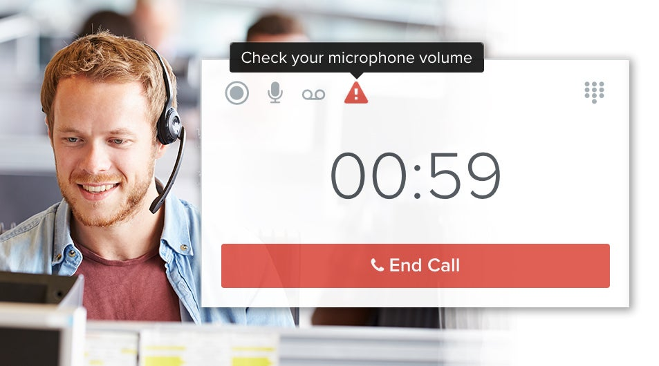 Sensors within the sales dialer platform provide real-time feedback during live calls for the most commonly occurring quality issues so that you can take appropriate action, like reporting network issues or checking on your headset's microphone.