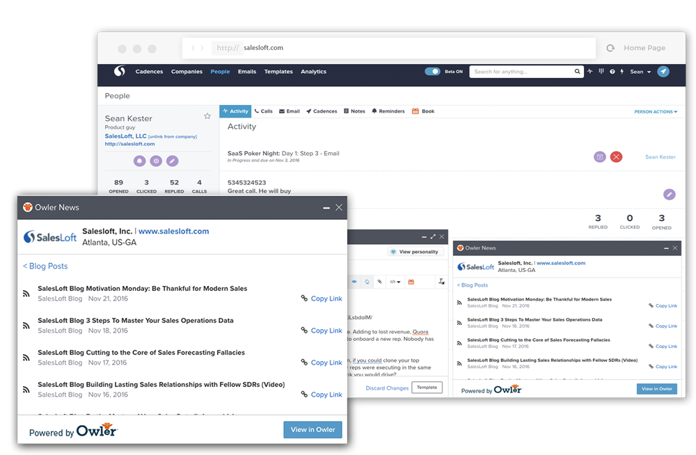 The SalesLoft sales email engine automatically surfaces relevant news and social insights about your leads, and allows you to insert them directly into your sales emails.