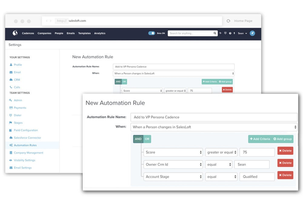 SalesLoft handles the heavy lifting for you, and gives you the flexibility to create sales email automation rules to inject the right people into your workflow based on persona, field updates, activity, or account tier.
