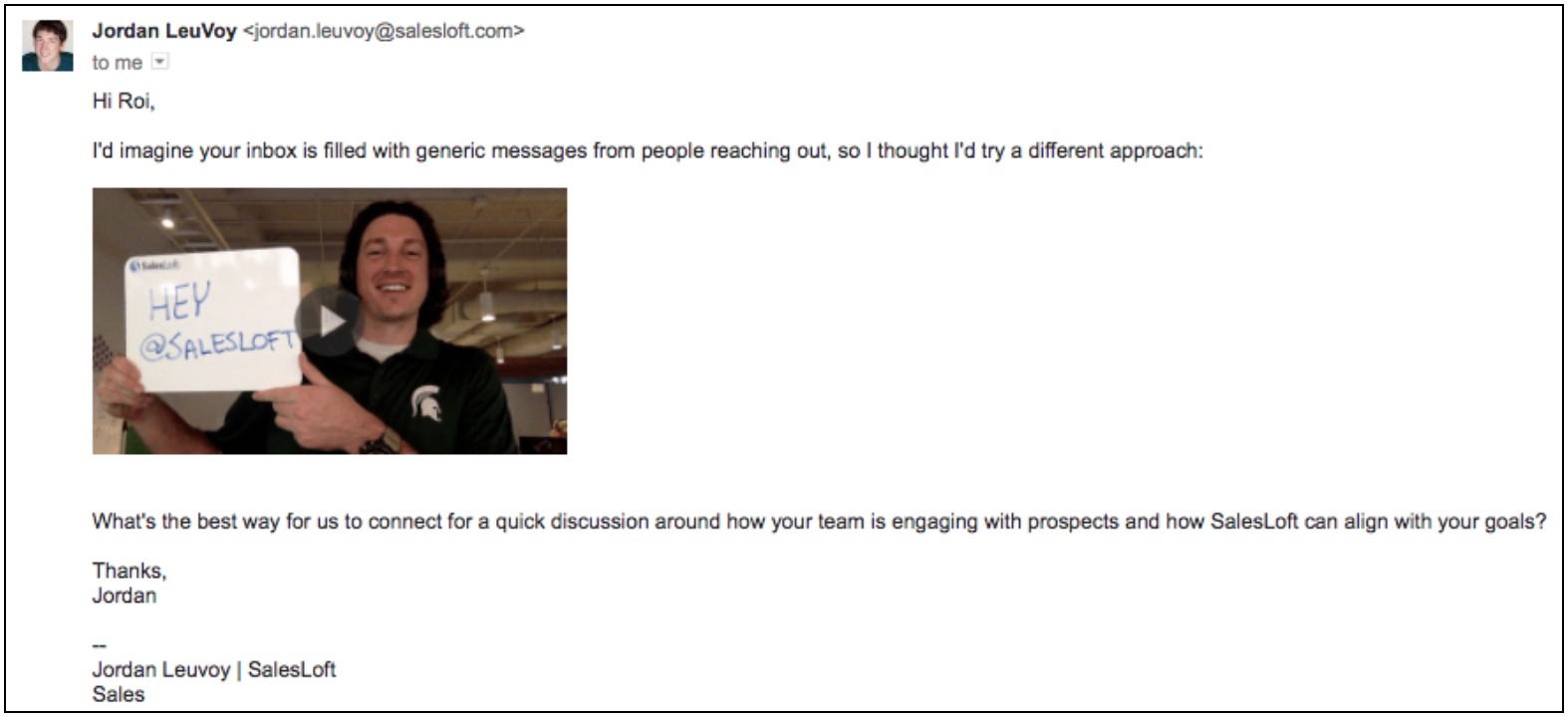 Example of a positive match for a video email in our experiment