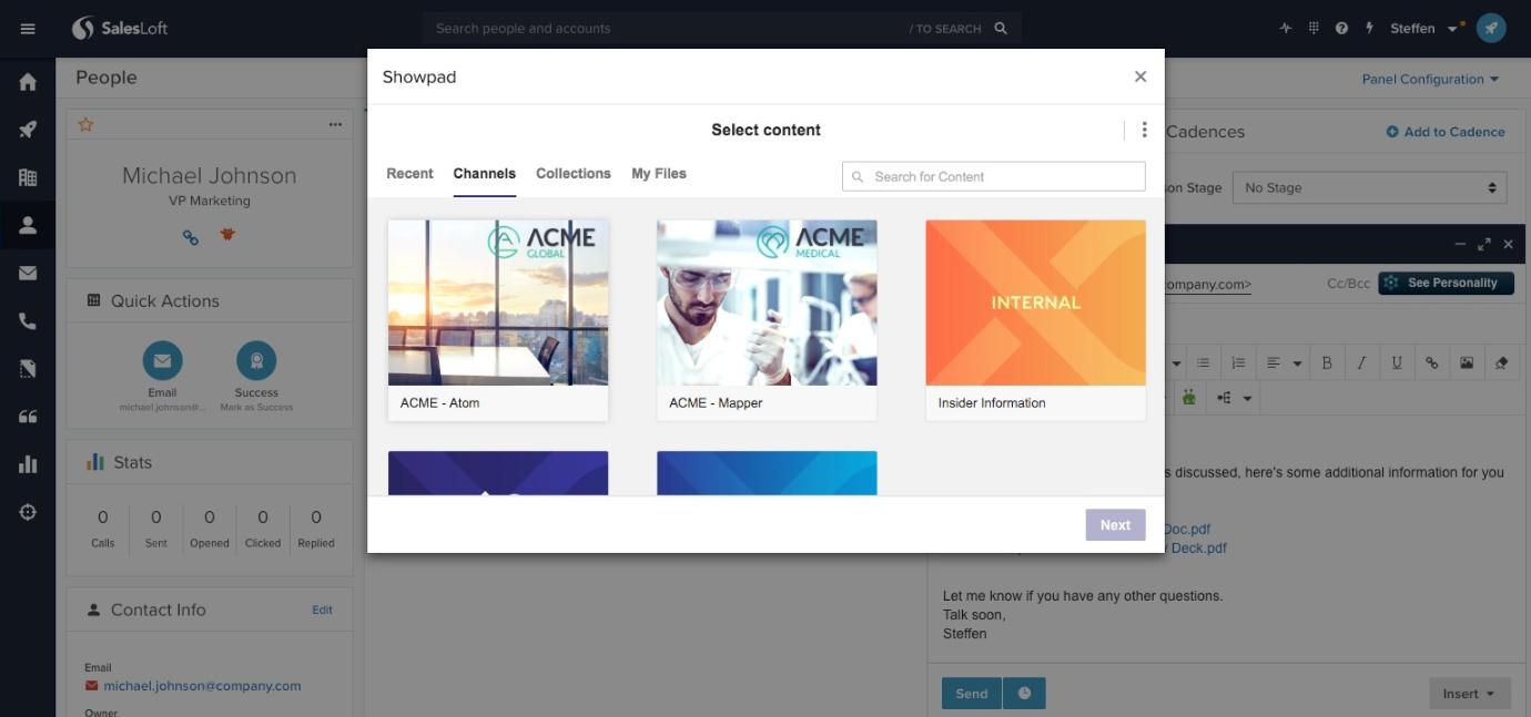 Showpad's Salesloft App