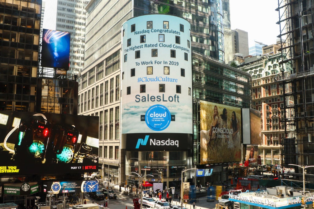 SalesLoft on Nasdaq Tower with the Battery Ventures Highest Rated Cloud Computing Companies project