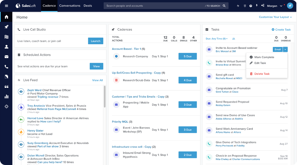 Tasks in SalesLoft